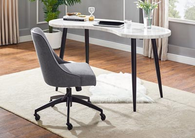 Kinsley Grey Swivel Upholstered Desk Chair