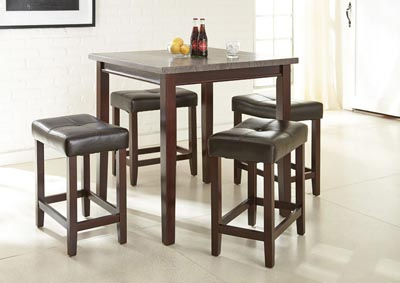 Image for Aberdeen Brown Square Counter Dining Set W/ 4 Stools