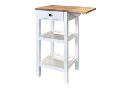 Image for Colmar White Kitchen Cart W/ Wooden Butcher Block