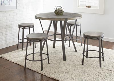 Image for Portland Grey Counter Dining Set W/ 4 Stools