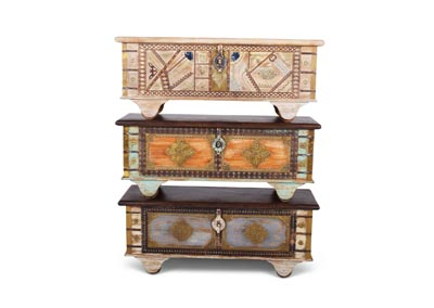 India Multicolor Set of Three Storage Trunks