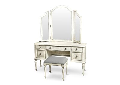 Highland Park Grey Vanity Bench