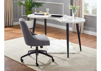 Kinsley Grey Kidney Shaped Desk W/ Swivel Chair