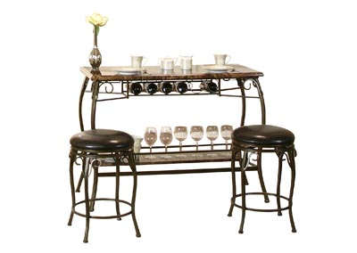 Image for Meny Brown Faux Marble Bar Table with 2 stools (Set)