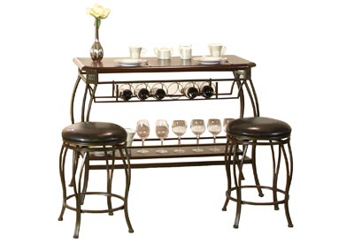 Image for Meny Brown Cherry Bar Table with 2 stools (Set)