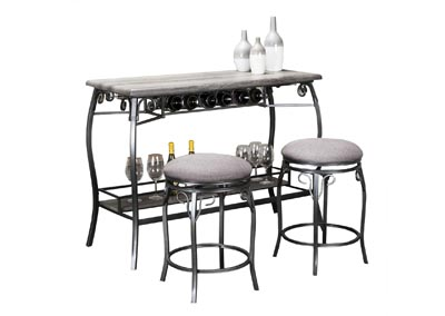 Image for Meny Gray Bar Table with 2 stools (Set)
