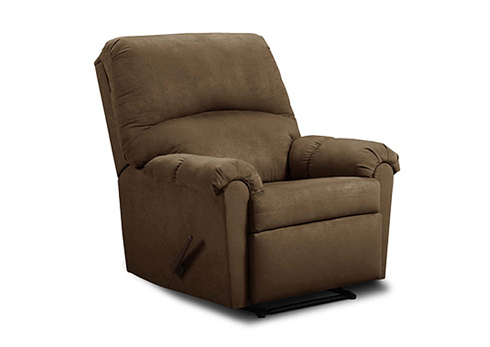FLAT SUEDE CHOCOLATE 3-WAY RECLINER,United Furniture