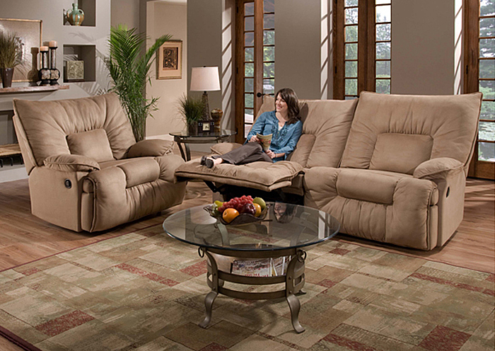TAN DOUBLE MOTION SOFA,United Furniture