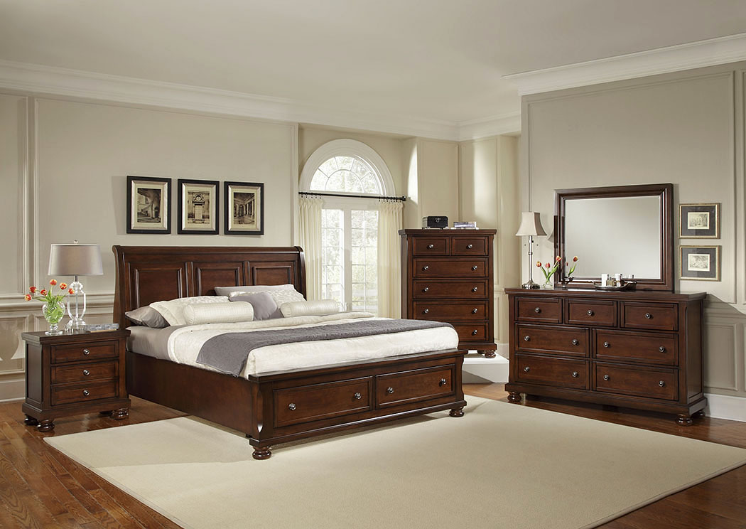 Reflections Dark Cherry Queen Sleigh Storage Bed w/ Dresser, Mirror, Drawer Chest and Nightstand,Vaughan-Bassett