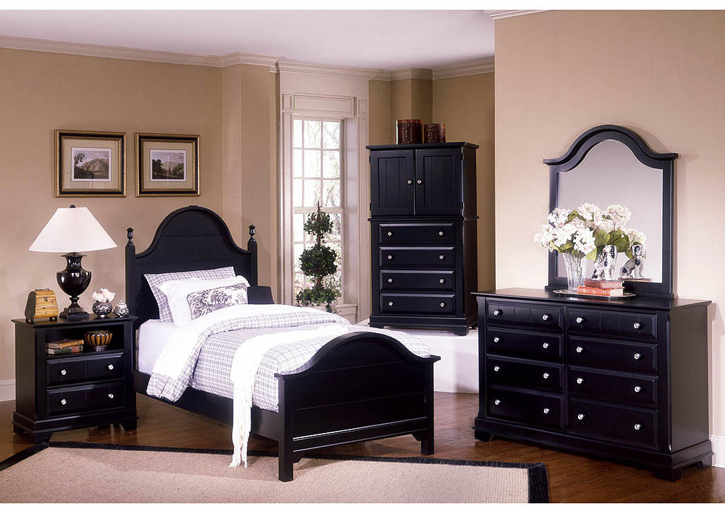 The Cottage Collection Black Twin Panel Bed w/ Dresser, Mirror, Vanity Chest and Commode,Vaughan-Bassett
