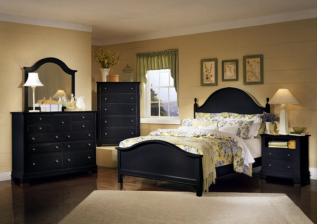 The Cottage Collection Black Queen Panel Bed w/ Dresser, Mirror, Drawer Chest and Commode,Vaughan-Bassett