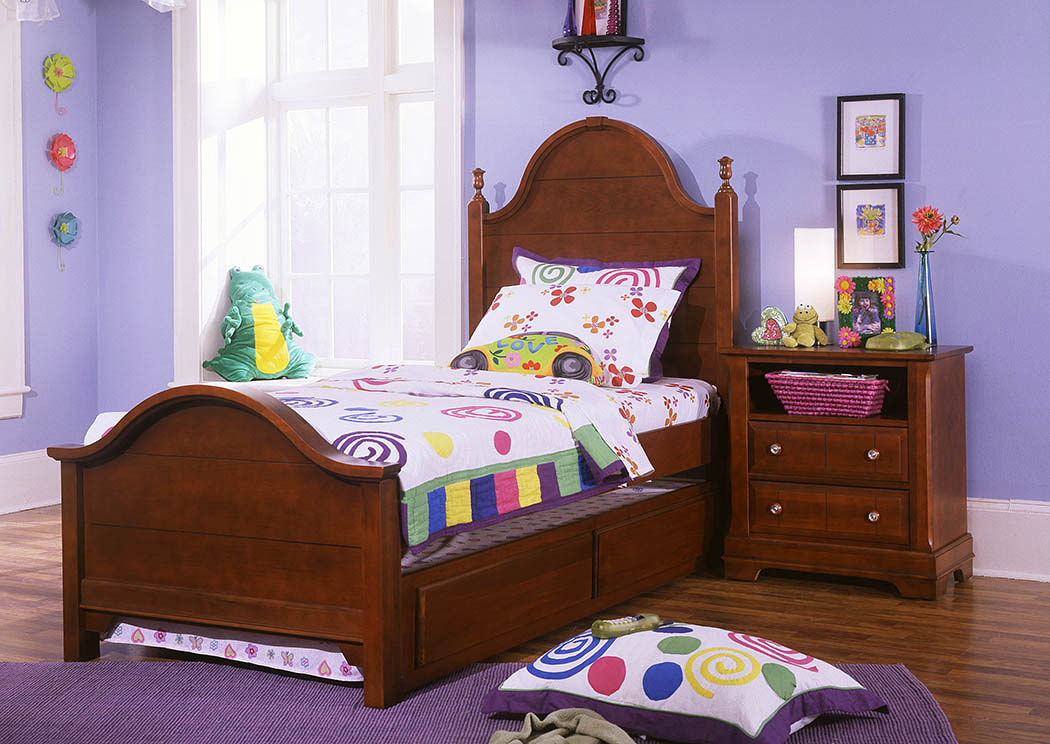 The Cottage Collection Cherry Twin Panel Bed w/ Trundle,Vaughan-Bassett