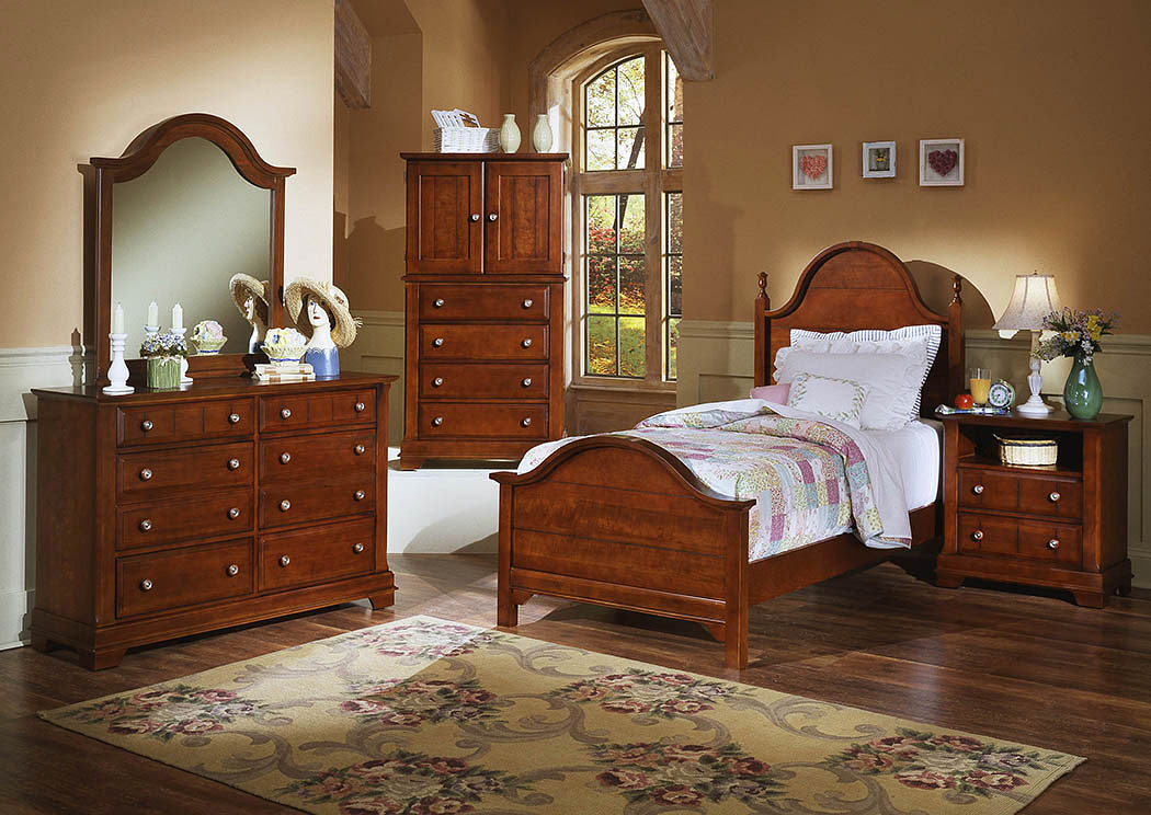 The Cottage Collection Cherry Twin Panel Bed w/ Dresser, Mirror, Drawer Chest and Commode,Vaughan-Bassett
