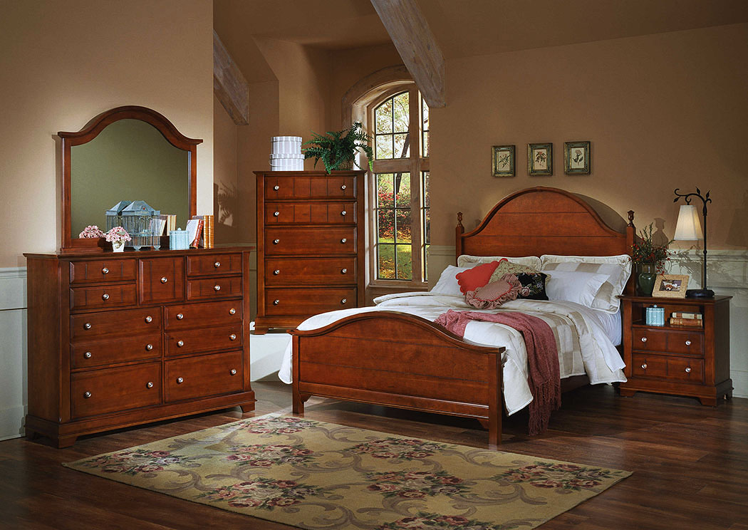 The Cottage Collection Cherry California King Panel Bed w/ Dresser, Mirror and Drawer Chest,Vaughan-Bassett