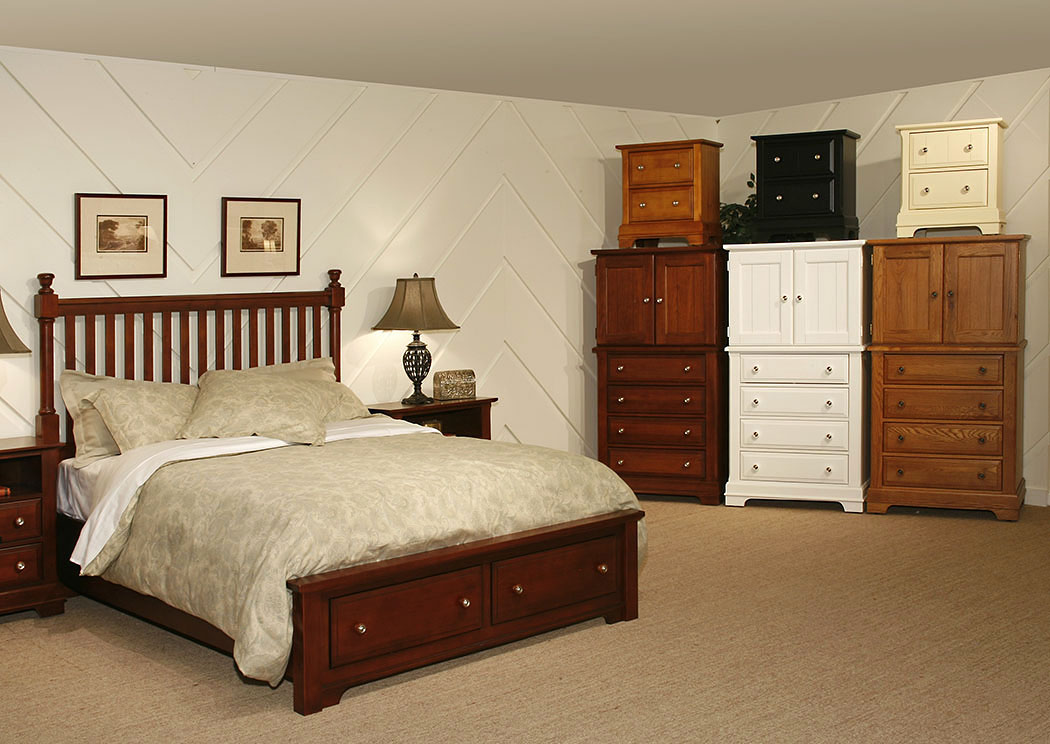 The Cottage Collection Cherry King Storage Poster Bed,Vaughan-Bassett