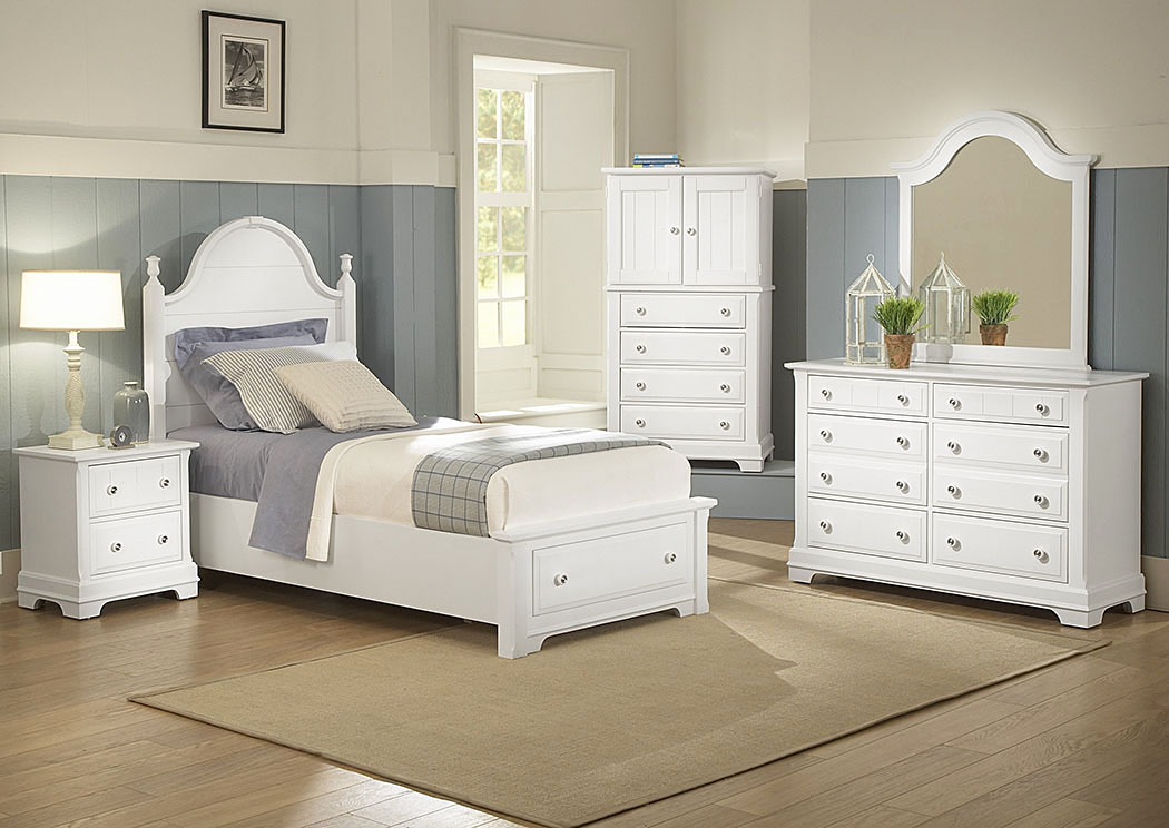 The Cottage Collection Snow White Twin Storage Bed w/ Dresser, Mirror and Vanity Chest,Vaughan-Bassett
