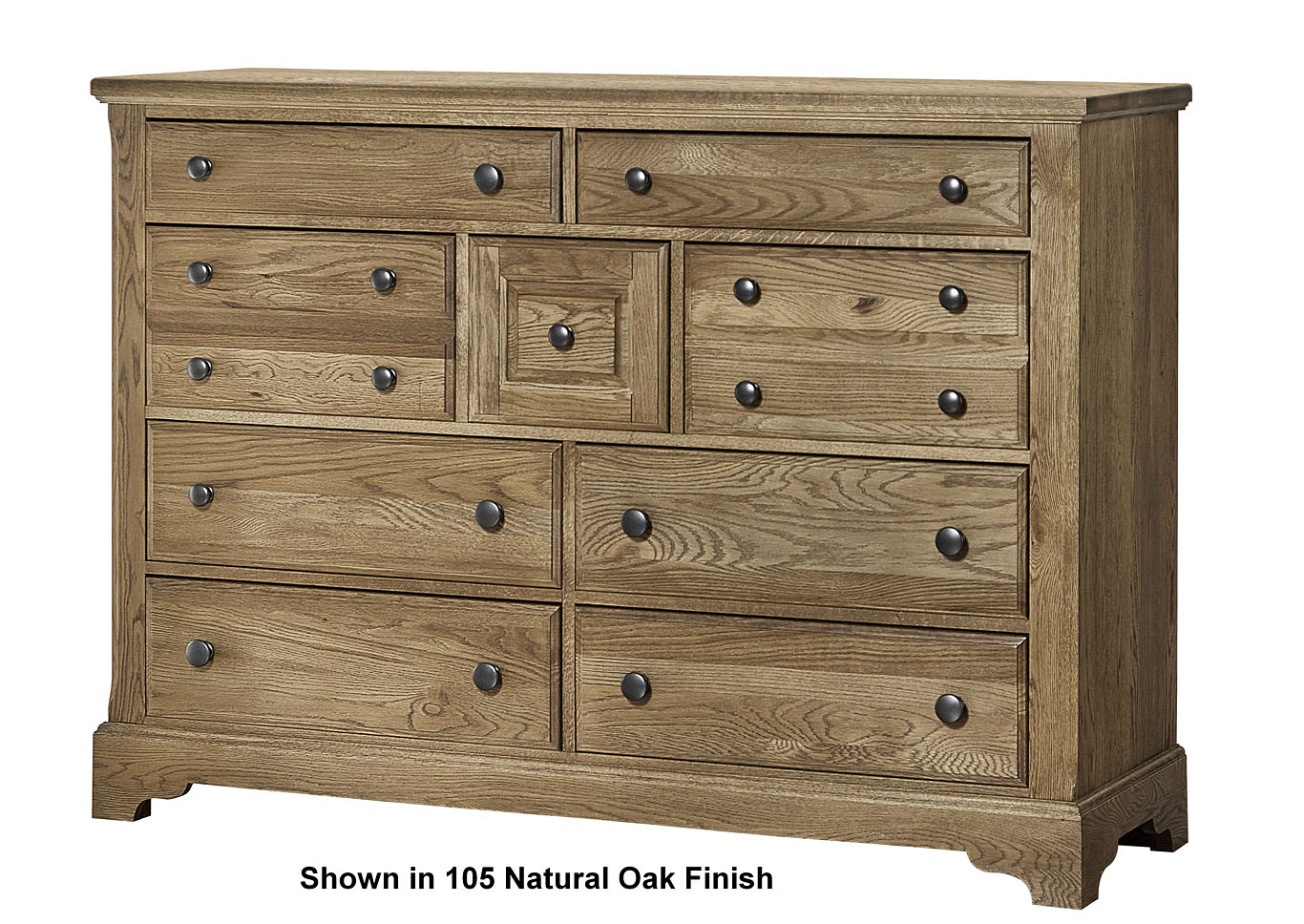 Artisan Choices Dark Oak Villa Dresser w/Arched Mirror,Vaughan-Bassett