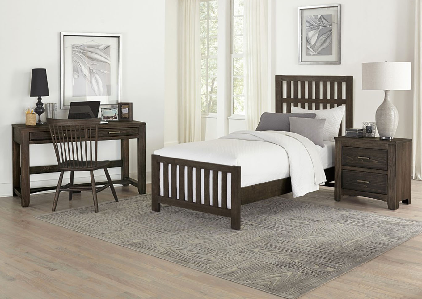 Cottage Too Coffee Slat Twin Panel Bed,Vaughan-Bassett