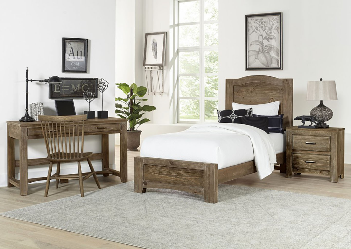 Cottage Too Grey Mansion Twin Panel Bed,Vaughan-Bassett