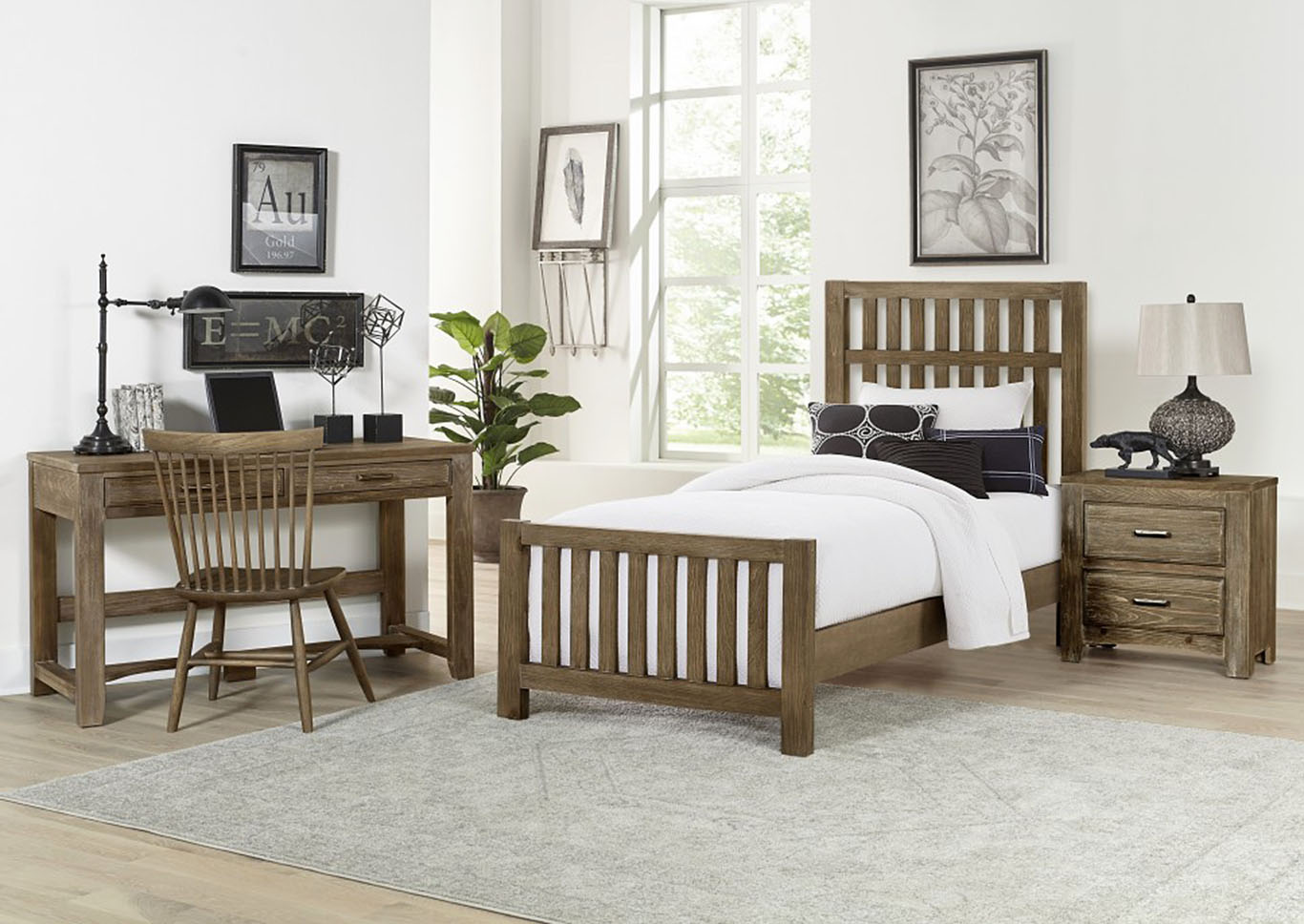 Cottage Too Grey Slat Twin Panel Bed,Vaughan-Bassett