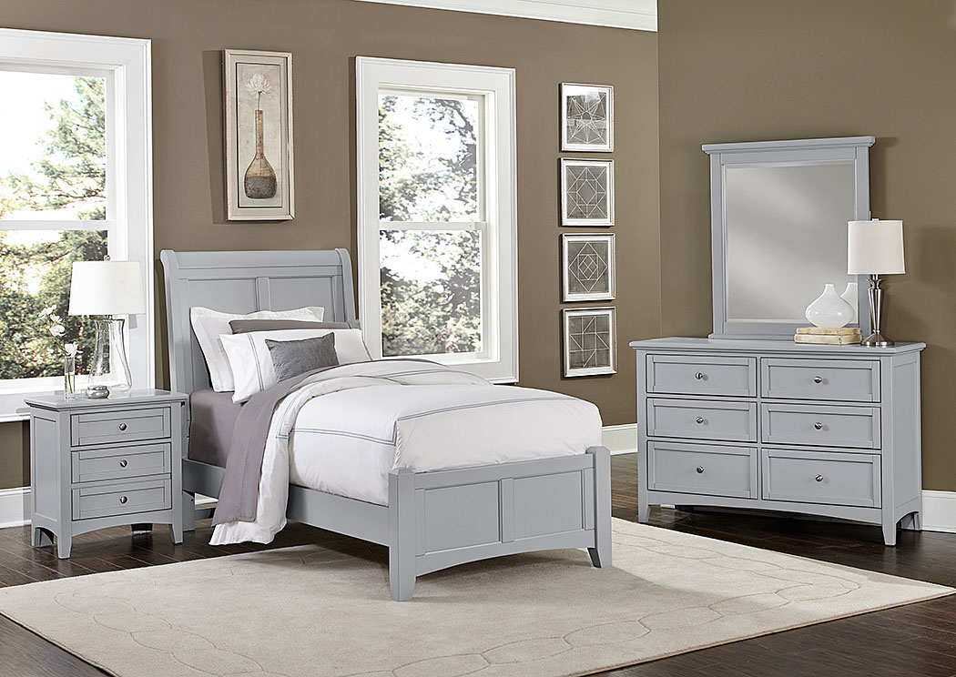 Bonanza Gray Twin Sleigh Bed w/ Dresser and Mirror,Vaughan-Bassett