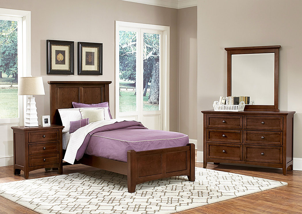 Bonanza Cherry Twin Panel Bed w/ Dresser and Mirror,Vaughan-Bassett