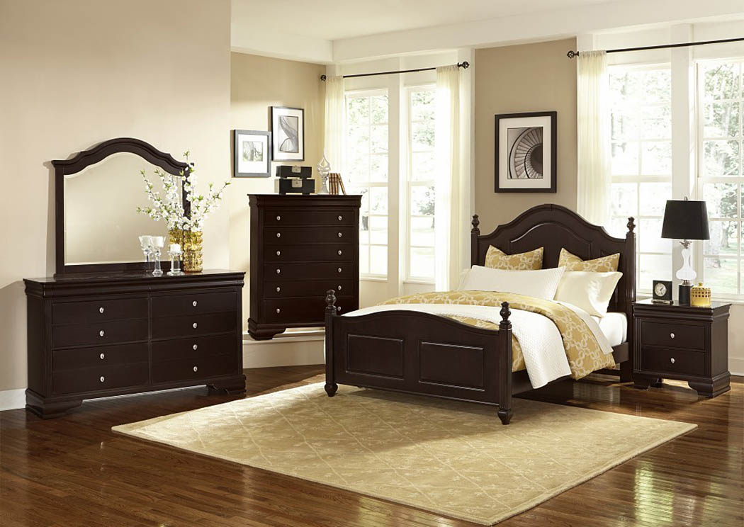 French Market Antique Merlot King Poster Bed w/ Dresser, Mirror and Nightstand,Vaughan-Bassett