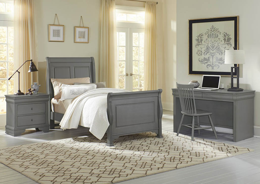 French Market Zinc Twin Sleigh Bed w/ Desk and Chair,Vaughan-Bassett