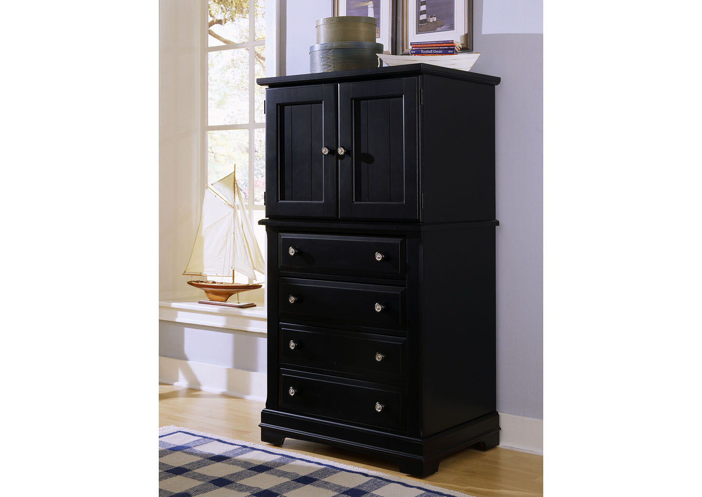 Cottage Black Vanity Chest,Vaughan-Bassett