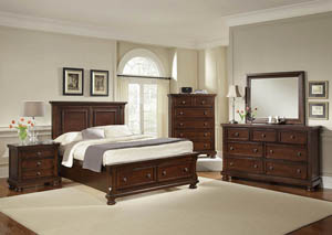 Reflections Dark Cherry Queen Storage Bed w/ Dresser, Mirror, Drawer Chest and Nightstand