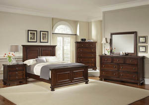 Reflections Dark Cherry Full Panel Bed w/ Dresser, Mirror and Drawer Chest