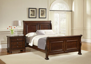 Reflections Dark Cherry Queen Sleigh Bed