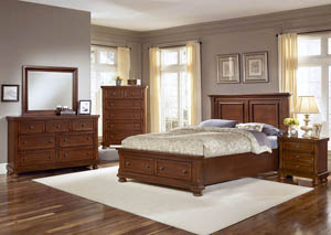 Reflections Medium Cherry King Storage Bed w/ Dresser, Mirror, Drawer Chest and Nightstand