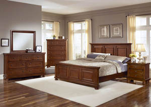 Reflections Medium Cherry Full Panel Bed w/ Dresser and Mirror