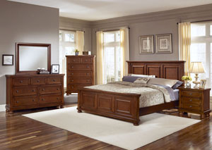 Reflections Medium Cherry California King Panel Bed