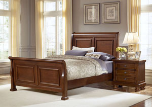 Reflections Medium Cherry King Sleigh Bed
