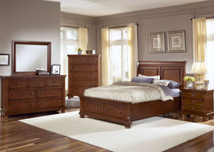 Reflections Medium Cherry King Storage Sleigh Bed w/ Dresser, Mirror, Drawer Chest and Nightstand