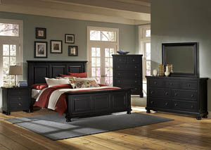 Reflections Ebony Queen Panel Bed