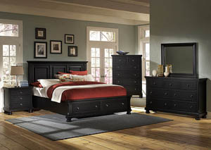 Reflections Ebony Queen Storage Bed