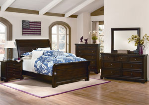 Hanover Dark Cherry Queen Sleigh Bed w/ Dresser and Mirror