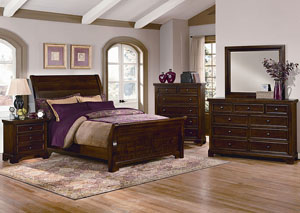 Hanover Cherry King Sleigh Bed w/ Dresser, Mirror, Drawer Chest and Nightstand