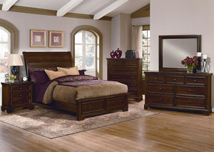 Hanover Cherry King Low Profile Sleigh Bed w/ Dresser, Mirror, Drawer Chest and Nightstand