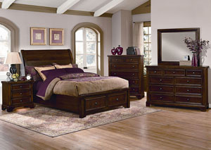 Hanover Cherry King Storage Sleigh Bed w/ Dresser, Mirror, Drawer Chest and Nightstand