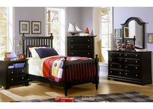 The Cottage Collection Black Twin Poster Bed w/ Dresser, Mirror, Drawer Chest and Commode