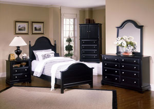 The Cottage Collection Black Dresser w/Vertical Mirror