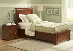 The Cottage Collection Cherry Twin Storage Sleigh Bed