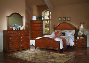The Cottage Collection Cherry King Panel Bed w/ Dresser, Mirror, Drawer Chest and Commode