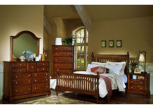 The Cottage Collection Cherry King Poster Bed w/ Dresser, Mirror, Drawer Chest and Commode