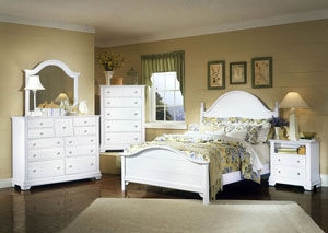 The Cottage Collection Snow White Queen Panel Bed w/ Dresser, Mirror, Drawer Chest and Commode
