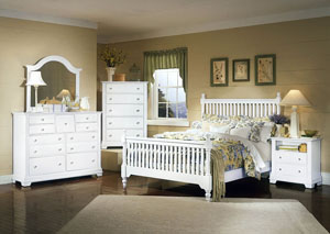 The Cottage Collection Snow White California King Poster Bed w/ Dresser, Mirror, Drawer Chest and Commode